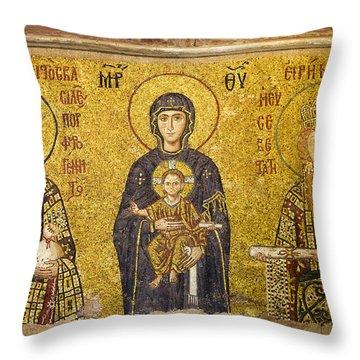 Byzantine Mosaic In Hagia Sophia Throw Pillow