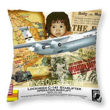 Throw Pillow featuring the drawing C-141 Operation Baby Lift by Kenneth De Tore