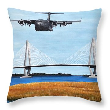 C-17 And Ravenel Bridge Throw Pillow by Holly York