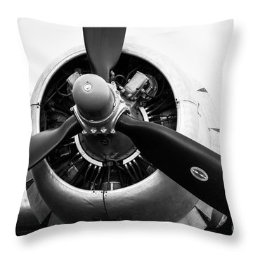 C-47 Engine Bw Throw Pillow by Lawrence Burry
