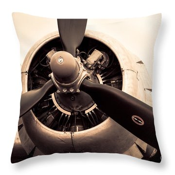 C-47 Engine Sepia Throw Pillow by Lawrence Burry