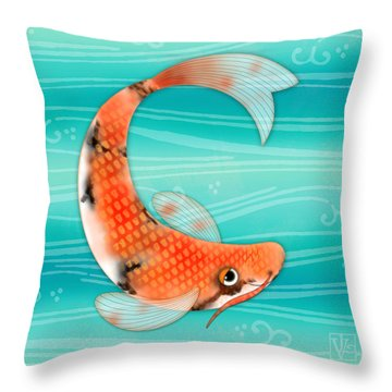 C Is For Cal The Curious Carp Throw Pillow