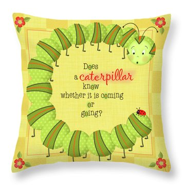 C Is For Caterpillar Throw Pillow