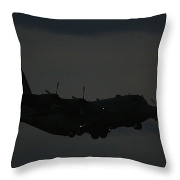 C130 Hercules Night Flight Throw Pillow by David Dunham