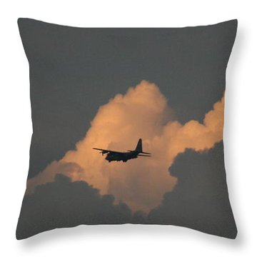 C130 Hercules Sunset 2 Throw Pillow by David Dunham