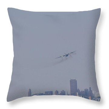 C130 Over Buffalo Throw Pillow
