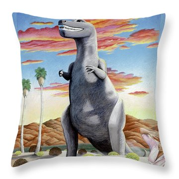 Cabazonasaur Throw Pillow by Snake Jagger