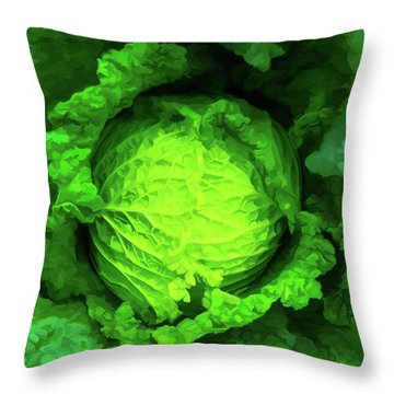 Cabbage 02 Throw Pillow by Wally Hampton