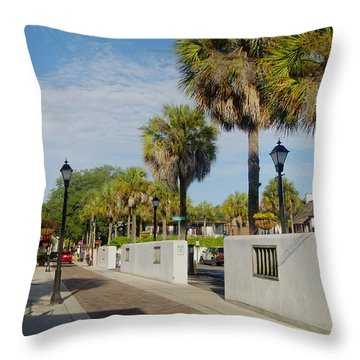 Cabbage Palms Along Hypolita Street Throw Pillow