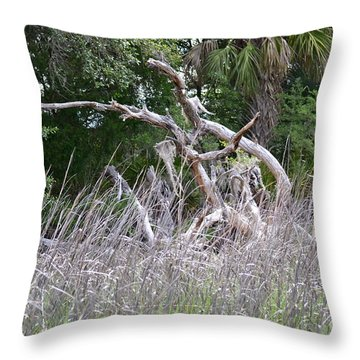 Throw Pillow featuring the photograph Cabbage Palms And Driftwood by Carol  Bradley