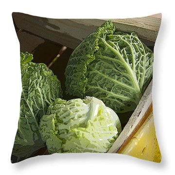 Throw Pillow featuring the photograph Cabbages by Jeanette French