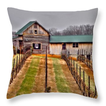 Cabin At Autumn Creek Vineyard Throw Pillow by Christy Ricafrente