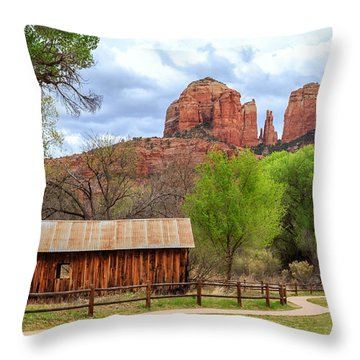 Throw Pillow featuring the photograph Cabin At Cathedral Rock by James Eddy