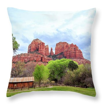 Throw Pillow featuring the photograph Cabin At Cathedral Rock Panorama by James Eddy