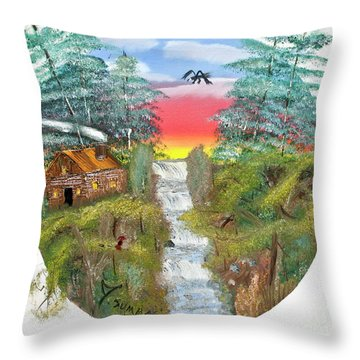 Cabin By The Falls Throw Pillow