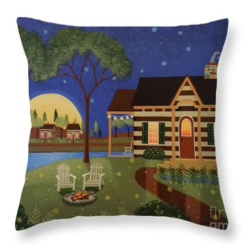 Cabin By The Lake Throw Pillows