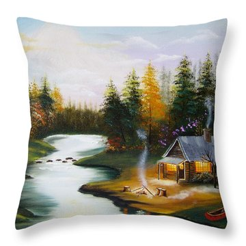 Cabin By The River Throw Pillow