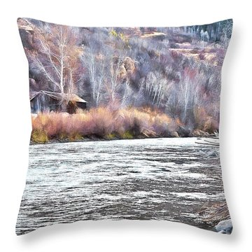 Cabin By The River In Steamboat,co Throw Pillow by James Steele