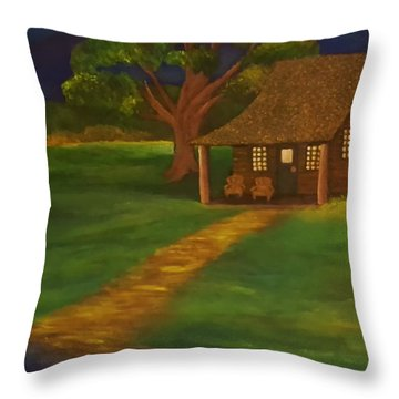 Cabin By The Water Throw Pillow by Christy Saunders Church