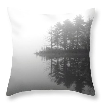 Cabin In The Foggy Woods Throw Pillow