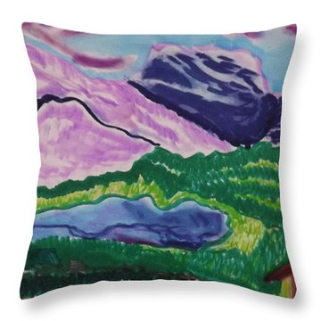 Cabin In The Mountains Throw Pillow by Don Koester