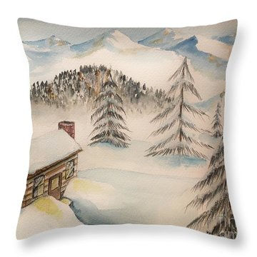 Cabin In The Rockies Throw Pillow