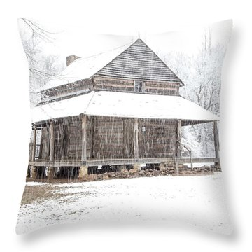 Cabin In The Snow Throw Pillow
