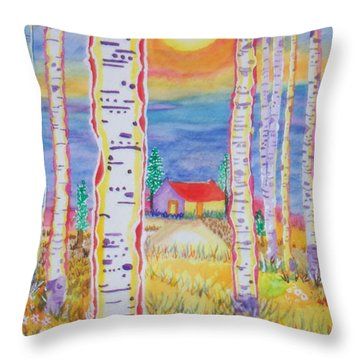 Throw Pillow featuring the painting Cabin In The Woods by Connie Valasco
