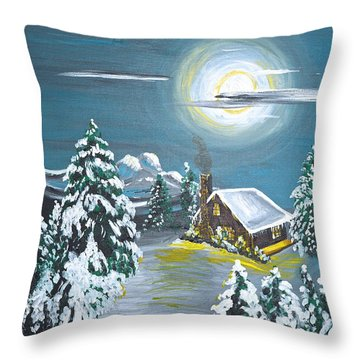 Cabin In The Woods Throw Pillow by Donna Blossom