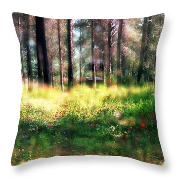 Cabin In The Woods In Menashe Forest Throw Pillow