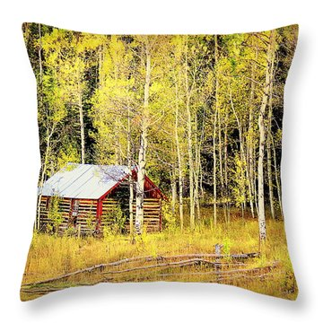 Cabin In The Golden Woods Throw Pillow