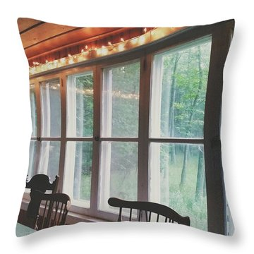 Cabin In The Woods Throw Pillow by Nikki McInnes