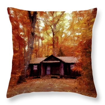 Throw Pillow featuring the painting Cabin In The Woods P D P by David Dehner
