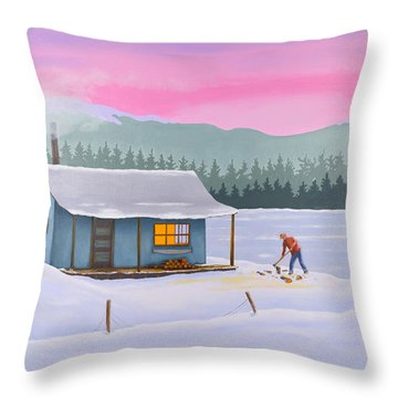 Cabin On A Frozen Lake Throw Pillow