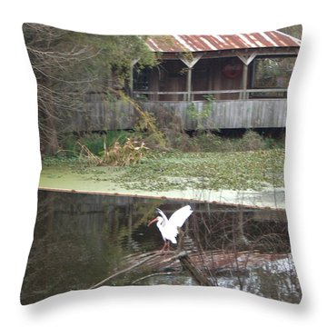 Cabin On The Bayou Throw Pillow