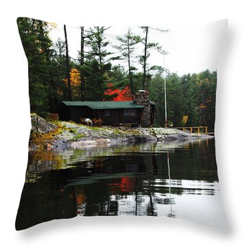 Cabin On The Rocks Throw Pillow
