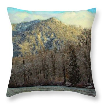 Cabin On The Skagit River Throw Pillow