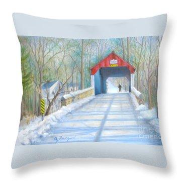 Cabin Run Bridge In Winter Throw Pillow