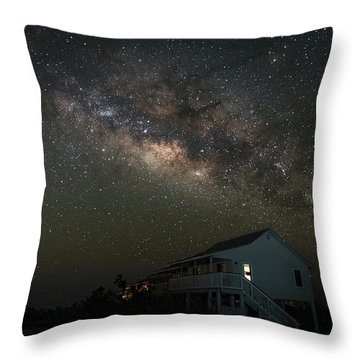 Cabin Under The Milky Way Throw Pillow