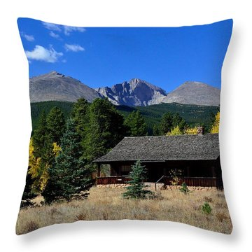 Cabin With A View Of Long's Peak Throw Pillow