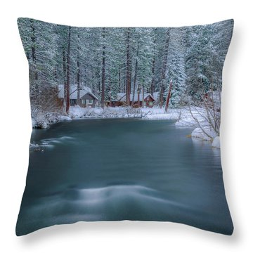 Throw Pillow featuring the photograph Cabins On The Metolius by Cat Connor