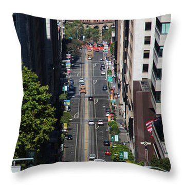 Cable Car And The Bay Bridge Throw Pillow by Wernher Krutein