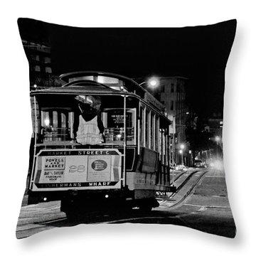 Cable Car At Night - San Francisco Throw Pillow