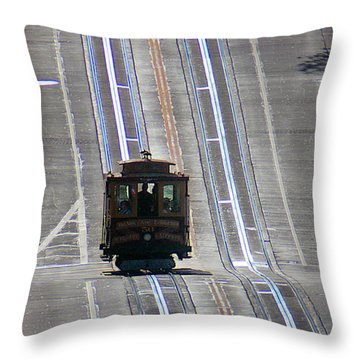 Cable Car On Nob Hill California Street Line Throw Pillow by Wernher Krutein