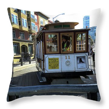 Cable Car Turnaround Throw Pillow by Steven Spak