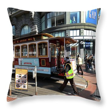 Cable Car Union Square Stop Throw Pillow by Steven Spak