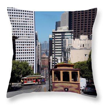 Cable Cars Crossing In San Francisco Throw Pillow by Wernher Krutein