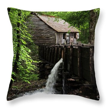 Throw Pillow featuring the photograph Cable Grist Mill by Andrea Silies