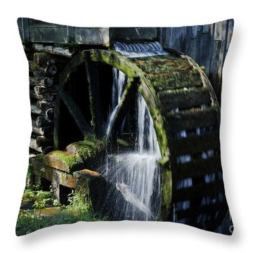 Throw Pillow featuring the photograph Cable Mill Water Wheel by Douglas Stucky