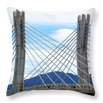 Throw Pillow featuring the photograph Cable Stayed Bridge With Two Pylons by Yali Shi